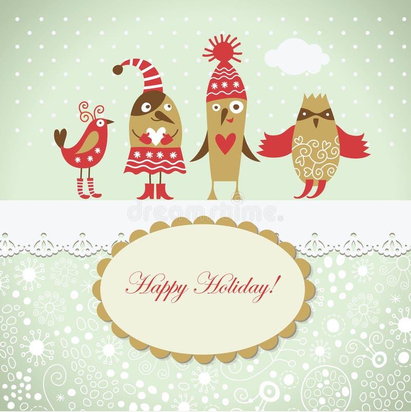 Cartão de Natal com pássaros bonitos