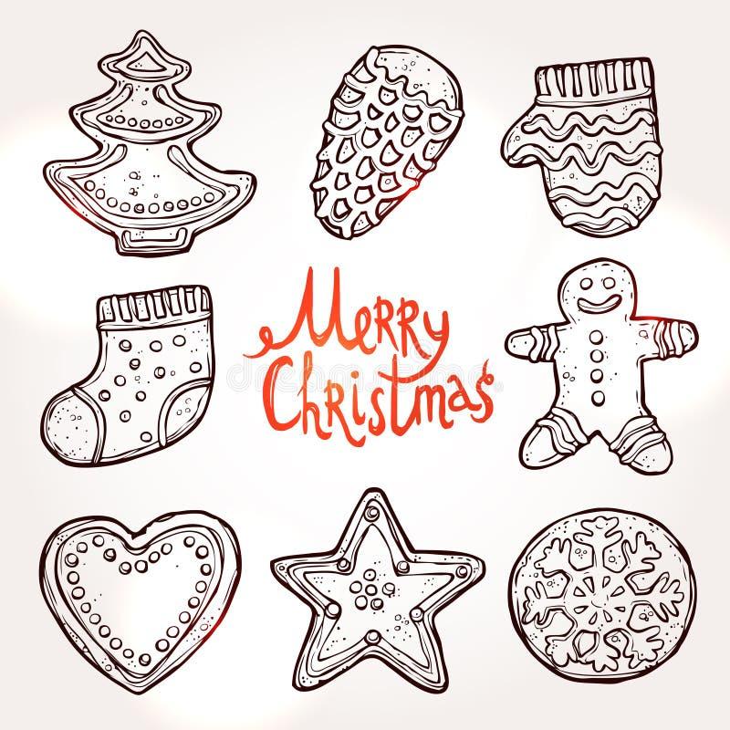 Cartão de Natal com pão-de-espécie ilustração stock
