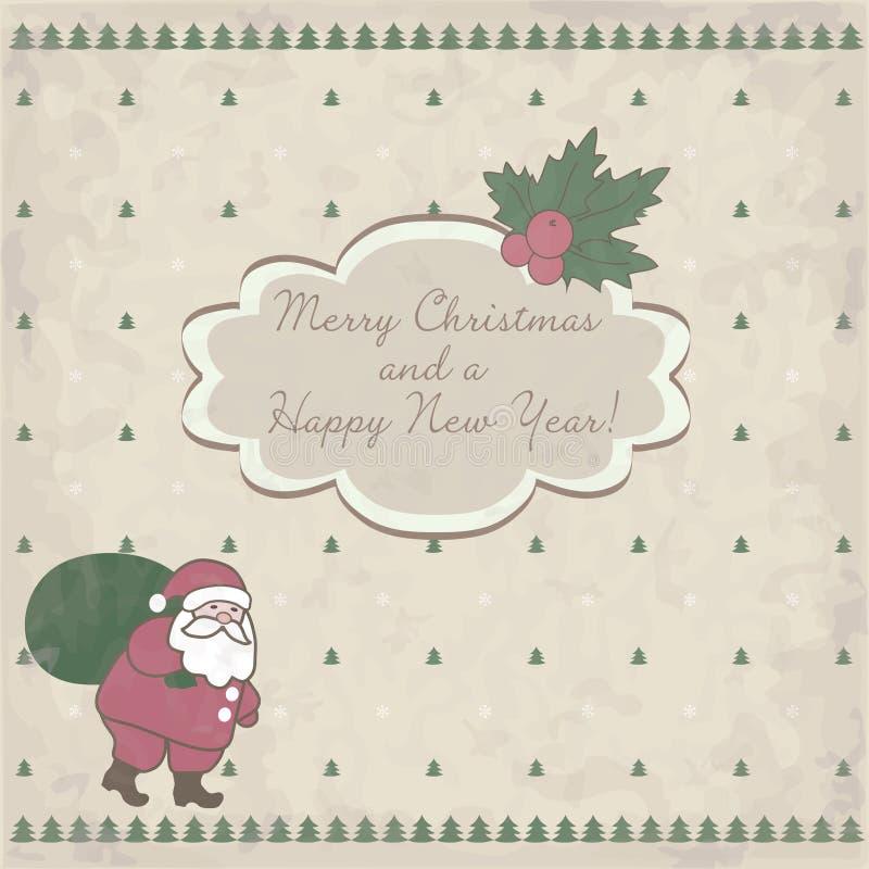 Cartão de Natal com Papai Noel ilustração stock