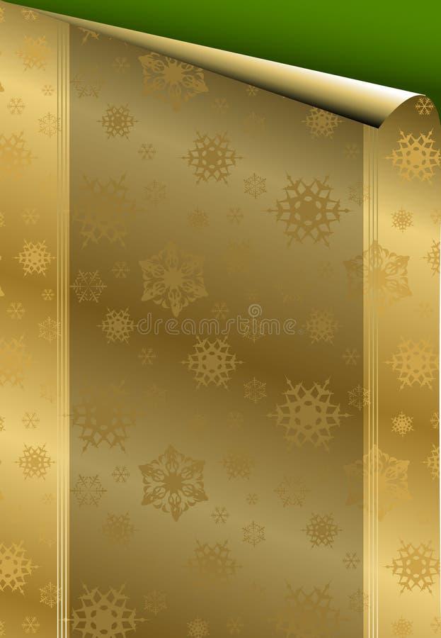 Cartão de Natal com papel dourado ilustração royalty free