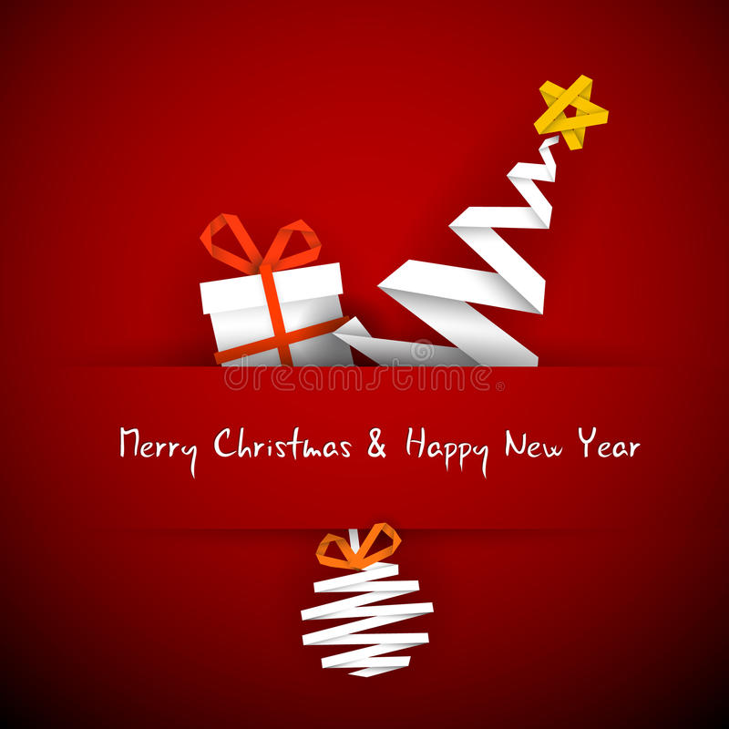 Cartão de Natal com presente, árvore e bauble ilustração stock