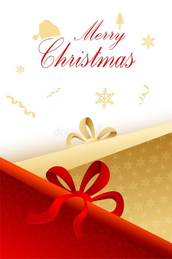 Cartão de Natal com presente ilustração royalty free