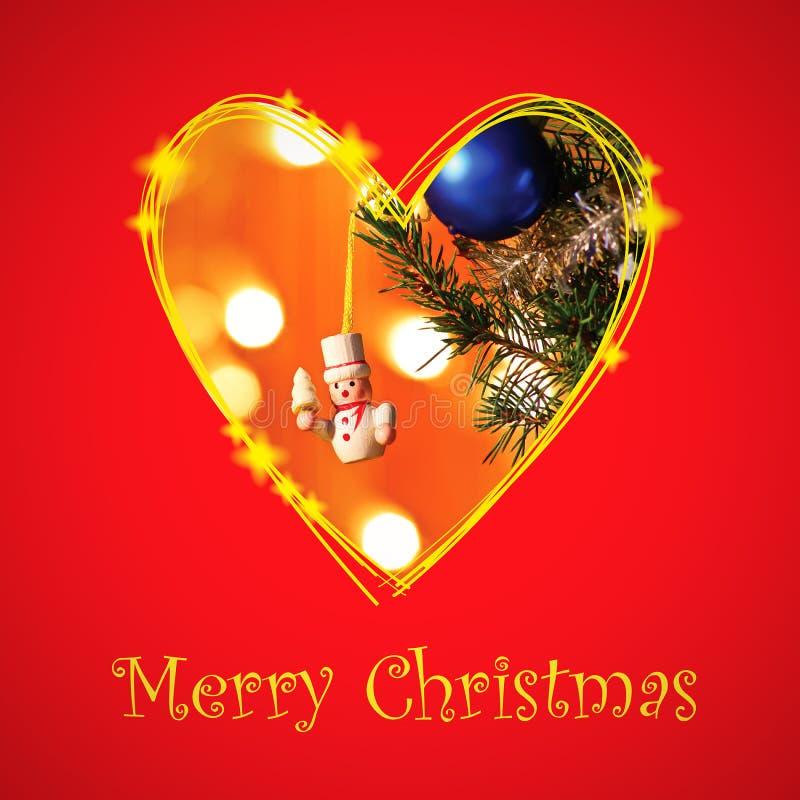 Cartão de Natal com quadro do coração do desenho imagem de stock royalty free