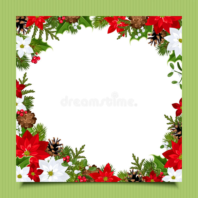 Cartão de Natal com ramos, azevinho, poinsétia e cones do abeto Vetor EPS-10 ilustração royalty free
