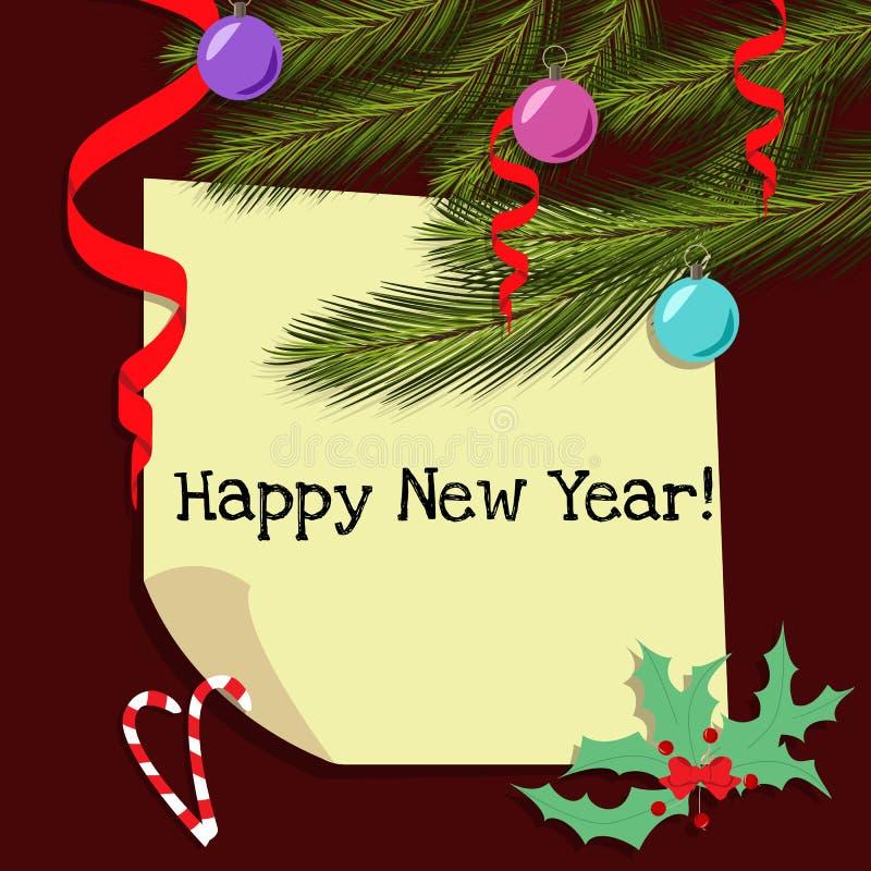 Cartão de Natal com ramos do abeto ilustração stock
