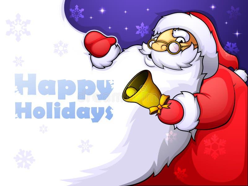 Cartão de Natal com Santa alegre e uma barba enorme ilustração royalty free