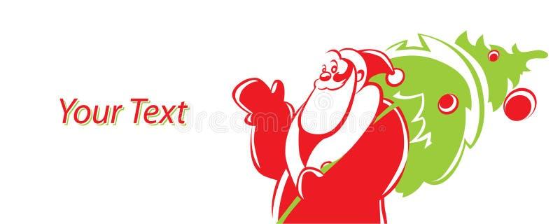 Cartão de Natal com Santa Claus e a árvore de Natal verde Lugar vazio para o texto Ilustração do vetor para o cumprimento do feri ilustração do vetor