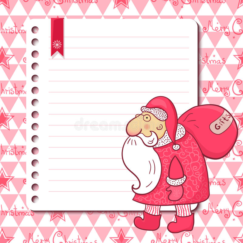 Cartão de Natal com Santa Claus e lugar para o texto ilustração do vetor
