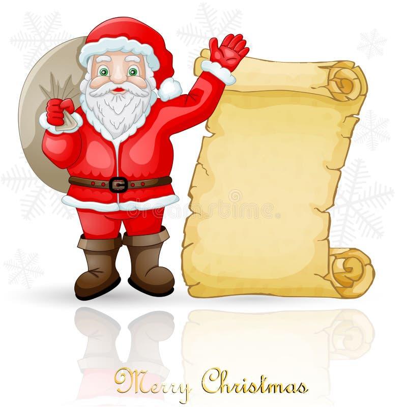 Cartão de Natal com Santa Claus e pergaminho ilustração do vetor