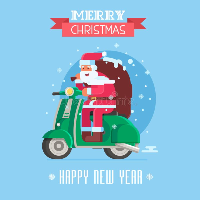 Cartão de Natal com a Santa no 'trotinette' ilustração do vetor