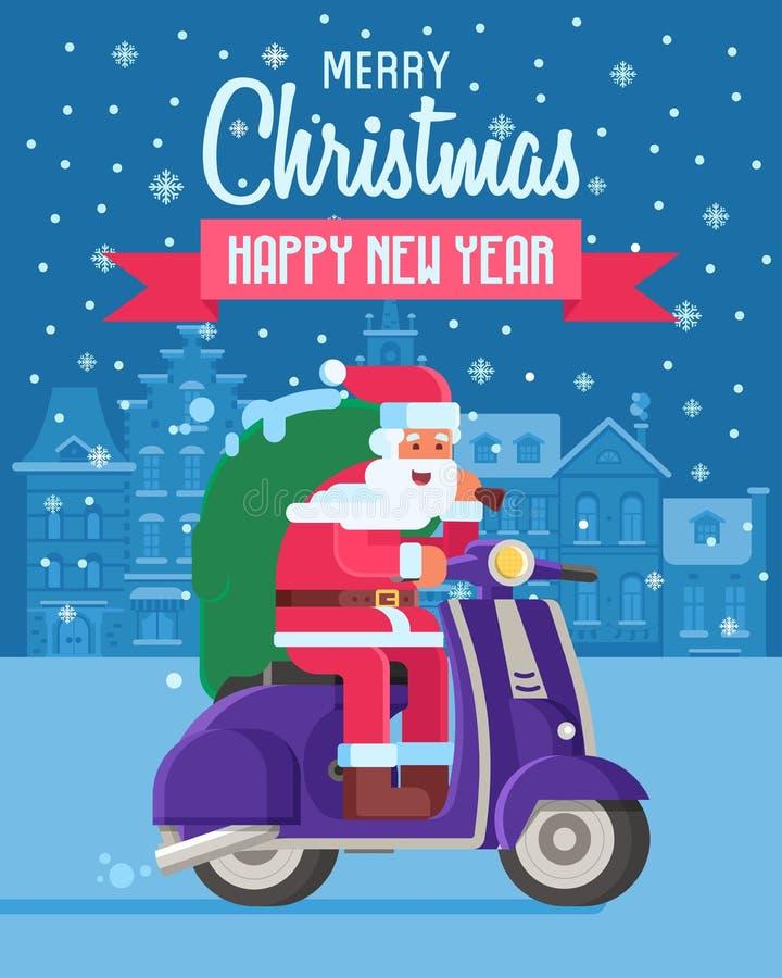Cartão de Natal com a Santa no 'trotinette' ilustração royalty free