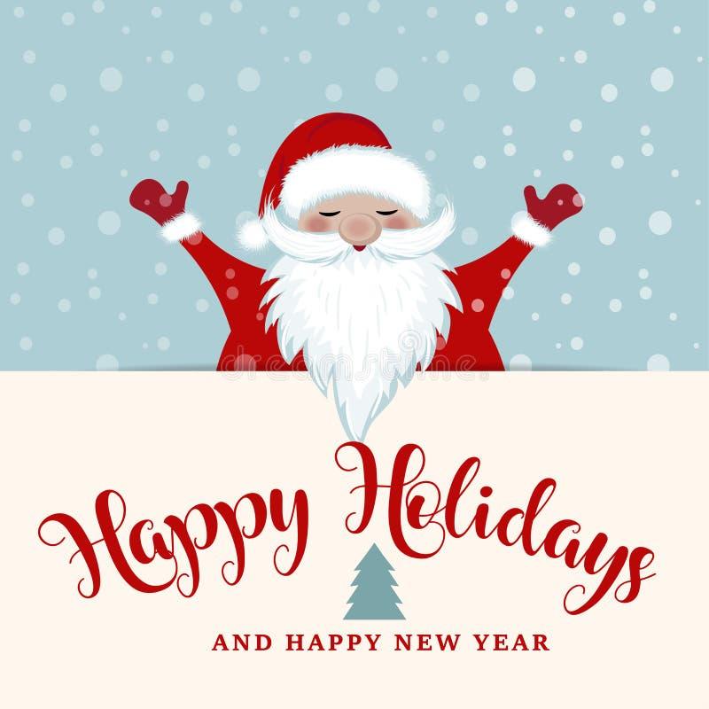 Cartão de Natal com Santa ilustração do vetor