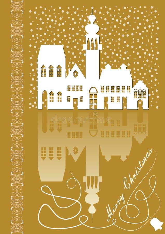 Cartão de Natal com a silhueta branca idílico da cidade velha no fundo do ouro ilustração royalty free