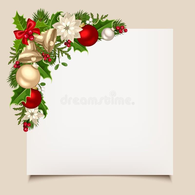 Cartão de Natal com sinos, azevinho, bolas e poinsétia Vetor EPS-10 ilustração royalty free