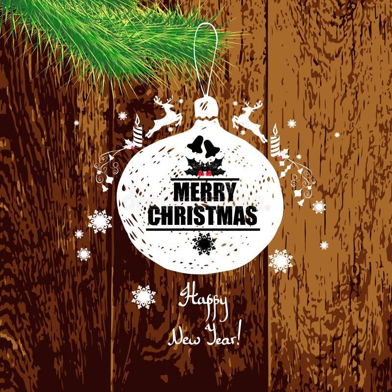 Cartão de Natal Com um ano novo feliz da inscrição! Ins colorido ilustração royalty free