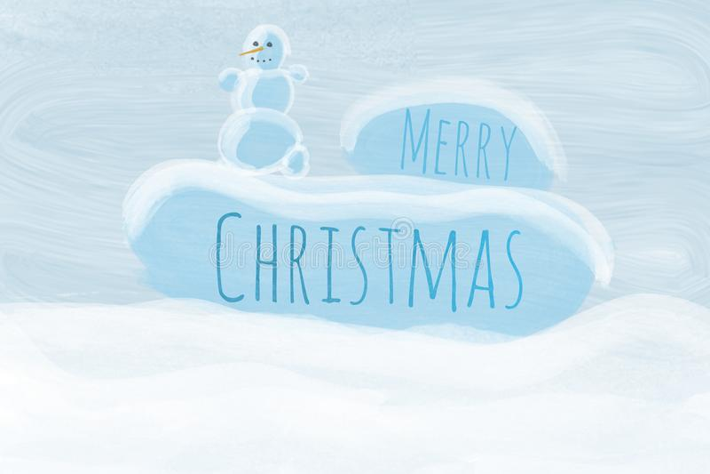 Cartão de Natal com um boneco de neve imagem de stock
