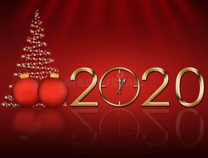 Cartão de Natal 2020 com uma árvore de Natal fotografia de stock royalty free