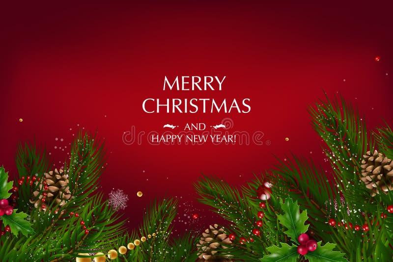 Cartão de Natal com uma composição de elementos festivos tais como a estrela do ouro, bagas ilustração stock