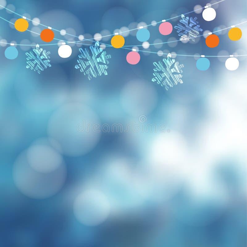 Cartão de Natal, convite Decoração do partido do wintergarden Vector a ilustração com corda das luzes, flocos de neve