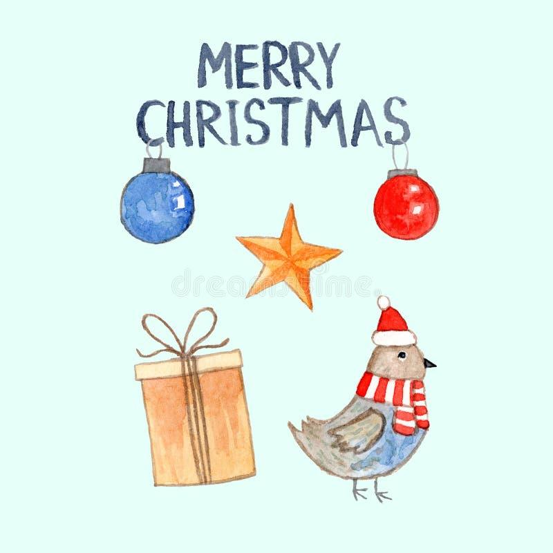 Cartão de Natal da aquarela com pássaro e caixa de presente ilustração royalty free