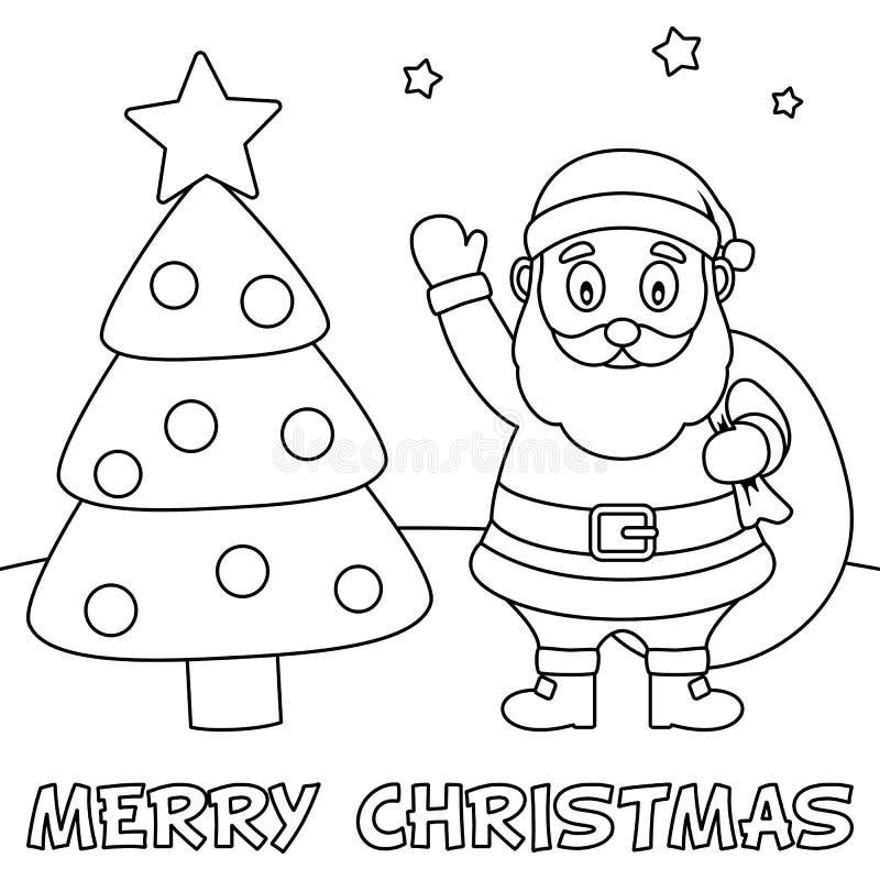 Cartão de Natal da coloração com Santa Claus ilustração royalty free