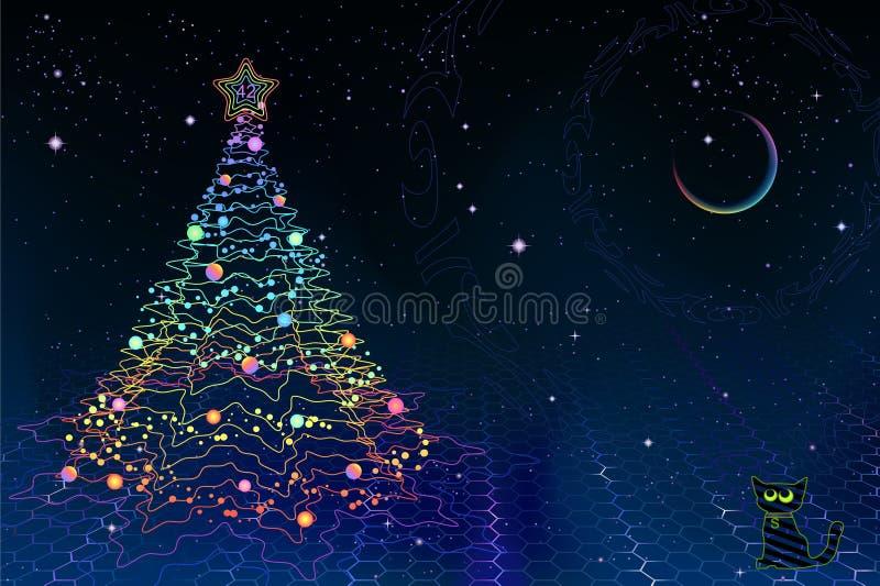 Cartão de Natal da física do quantum ilustração do vetor
