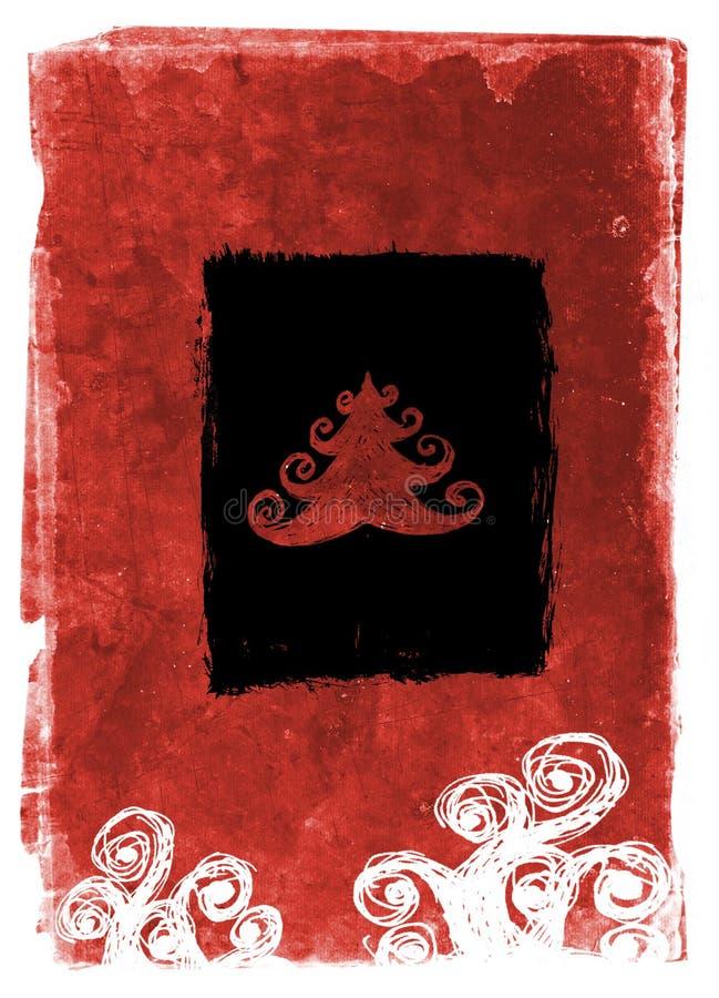 Cartão de Natal de Grunge - vermelho ilustração royalty free