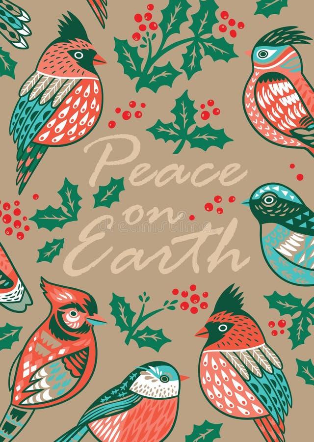 Cartão de Natal decorativo com pássaros e o visco decorativos ilustração do vetor