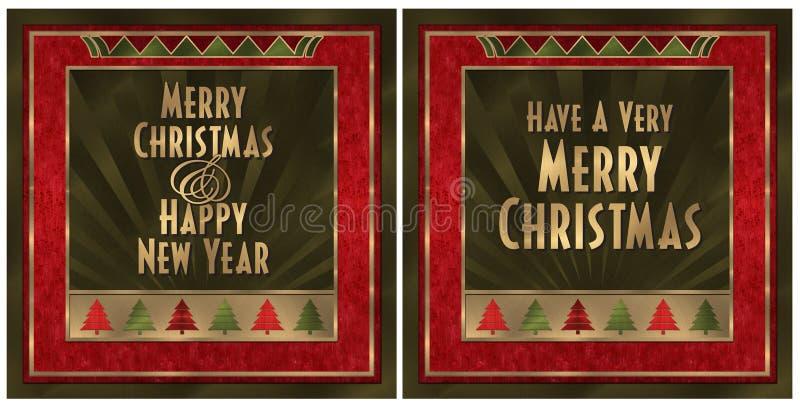 Cartão de Natal do art deco ilustração do vetor