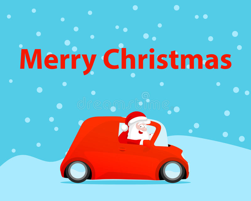 Cartão de Natal do carro da movimentação de Santa ilustração do vetor