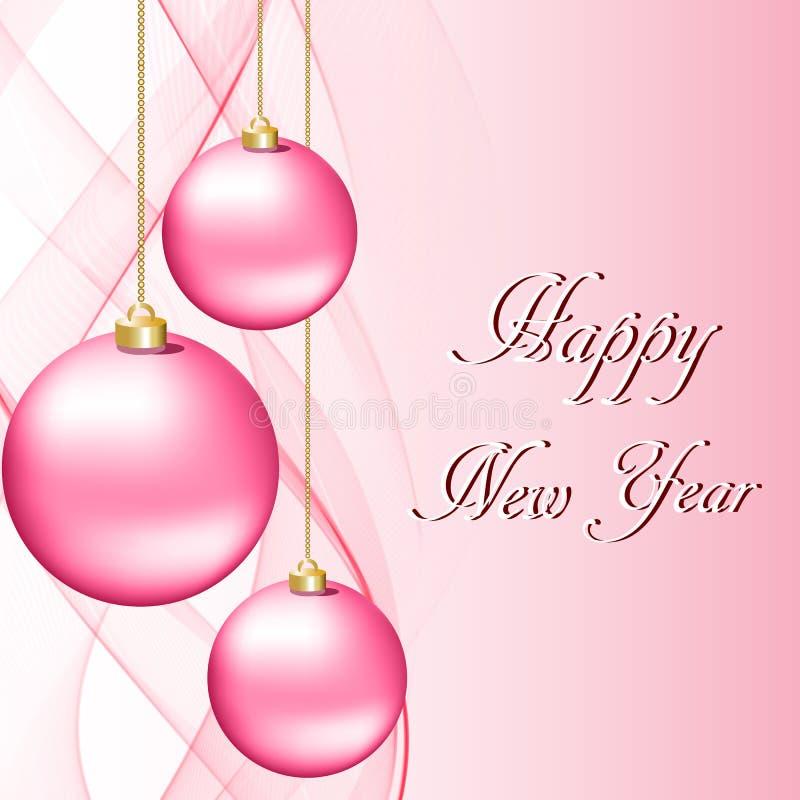 Cartão de Natal do cumprimento com as bolas cor-de-rosa do Natal ilustração do vetor