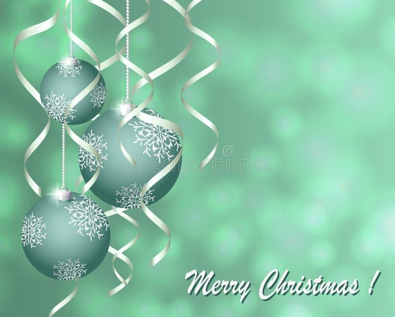 Cartão de Natal do cumprimento com as bolas com a serpentina de prata no fundo cinzento ilustração do vetor