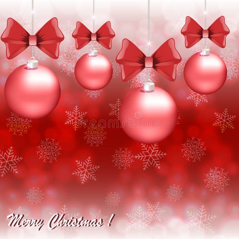 Cartão de Natal do cumprimento com as bolas vermelhas no fundo dos flocos de neve ilustração do vetor