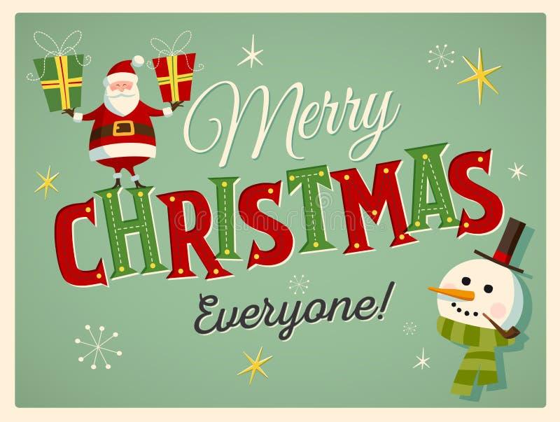 Cartão de Natal do estilo do vintage com Santa Claus e um boneco de neve ilustração do vetor