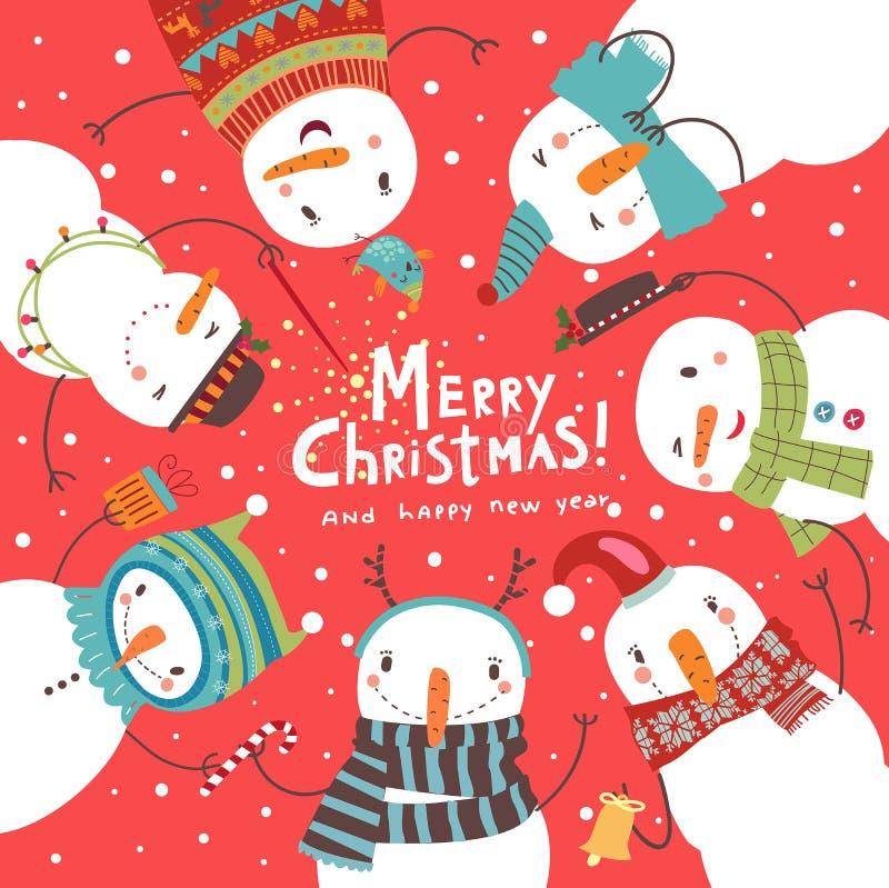 Cartão de Natal do Natal Dança redonda dos bonecos de neve ilustração royalty free
