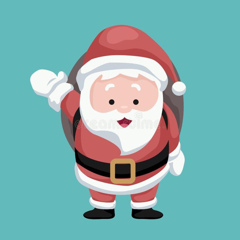 Cartão de Natal do Pai Natal a entregar presentes na sua moto ilustração stock