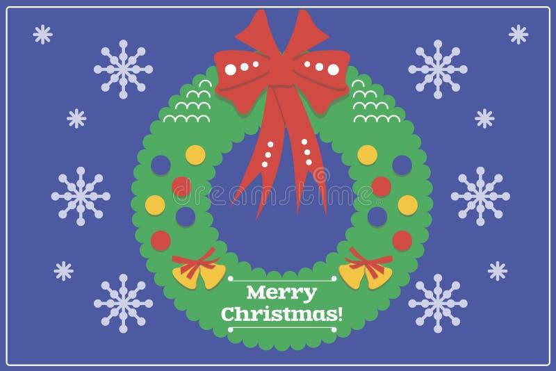 Cartão de Natal do projeto/fundo lisos com Wreat ilustração royalty free