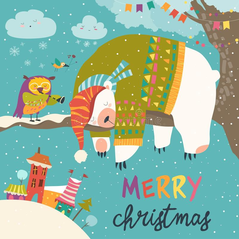 Cartão de Natal do vetor com o urso polar do sono e a coruja pequena ilustração stock