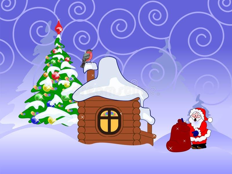 Cartão de Natal do vetor com Papai Noel ilustração stock
