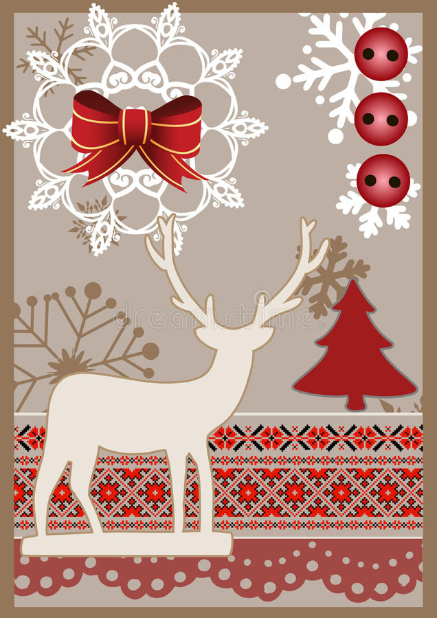 Cartão de Natal do vetor no estilo scrapbooking ilustração stock