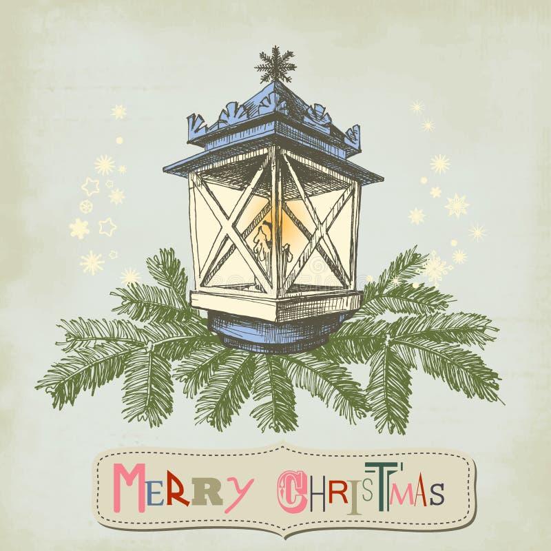 Cartão de Natal do vintage ilustração royalty free