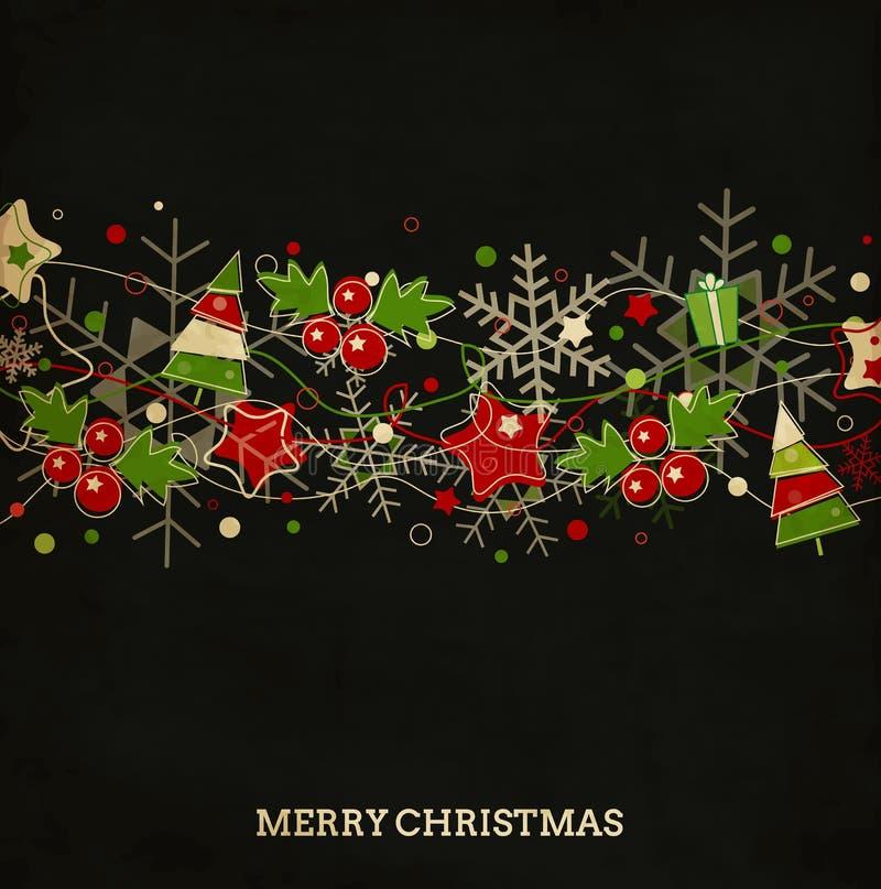 Cartão de Natal do vintage com estrelas, bagas e neve ilustração stock