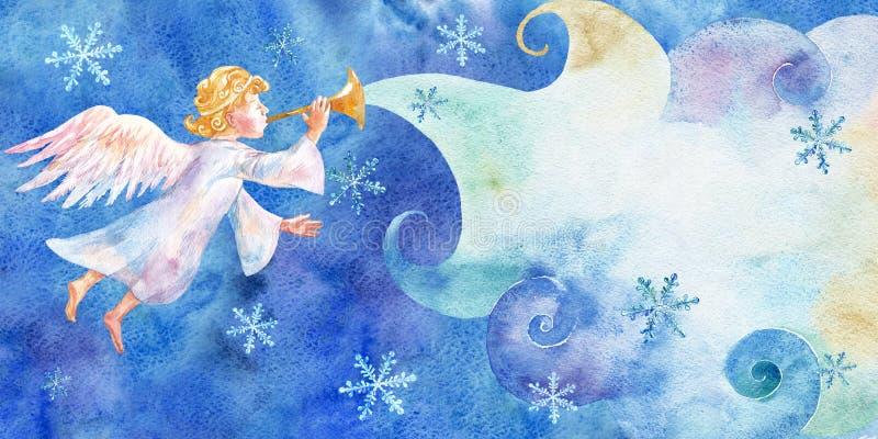 Cartão de Natal do vintage com pouca aquarela do anjo no fundo ciano ano novo feliz 2007 ilustração royalty free