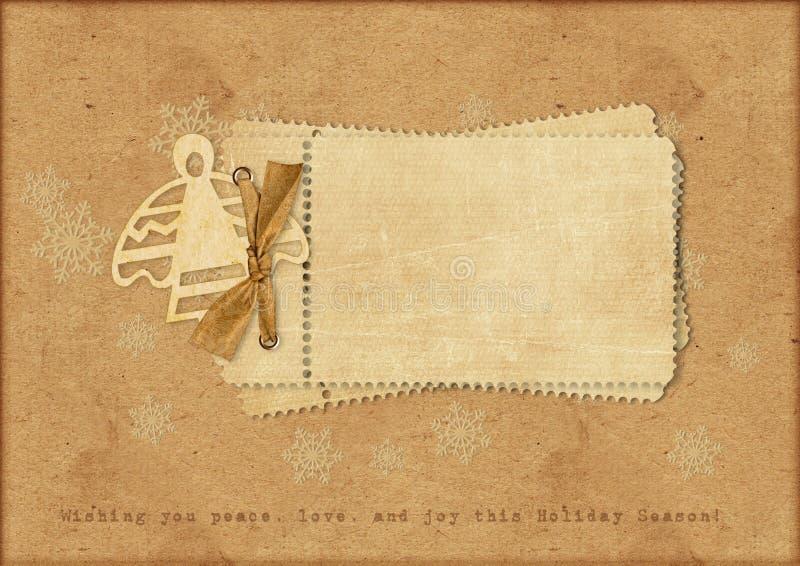 Cartão de Natal do vintage com um anjo ilustração royalty free