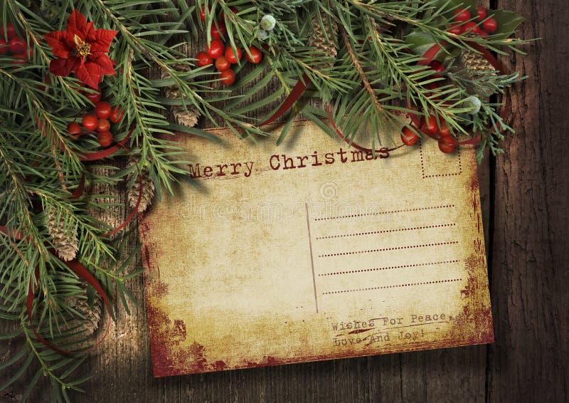 Cartão de Natal do vintage em um fundo de madeira com um garlan agradável ilustração stock