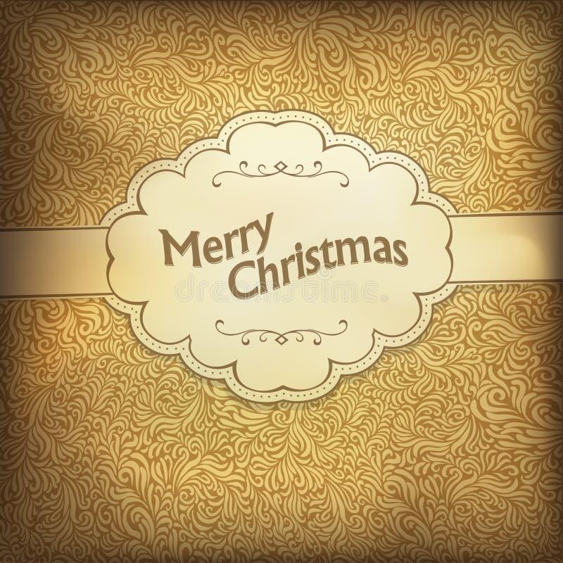 Cartão de Natal do vintage na gama dourada. ilustração stock