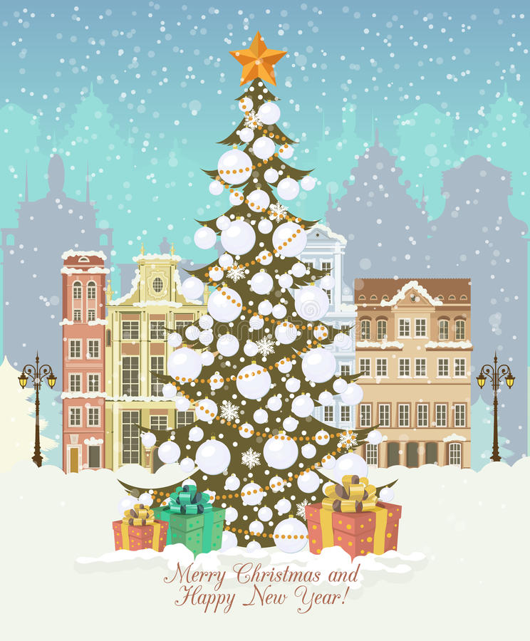 Cartão de Natal do vintage, vetor com presentes e árvore de Natal ilustração stock