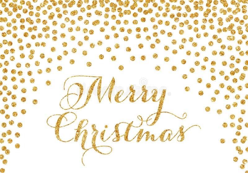 Cartão de Natal dos confetes do ouro ilustração royalty free