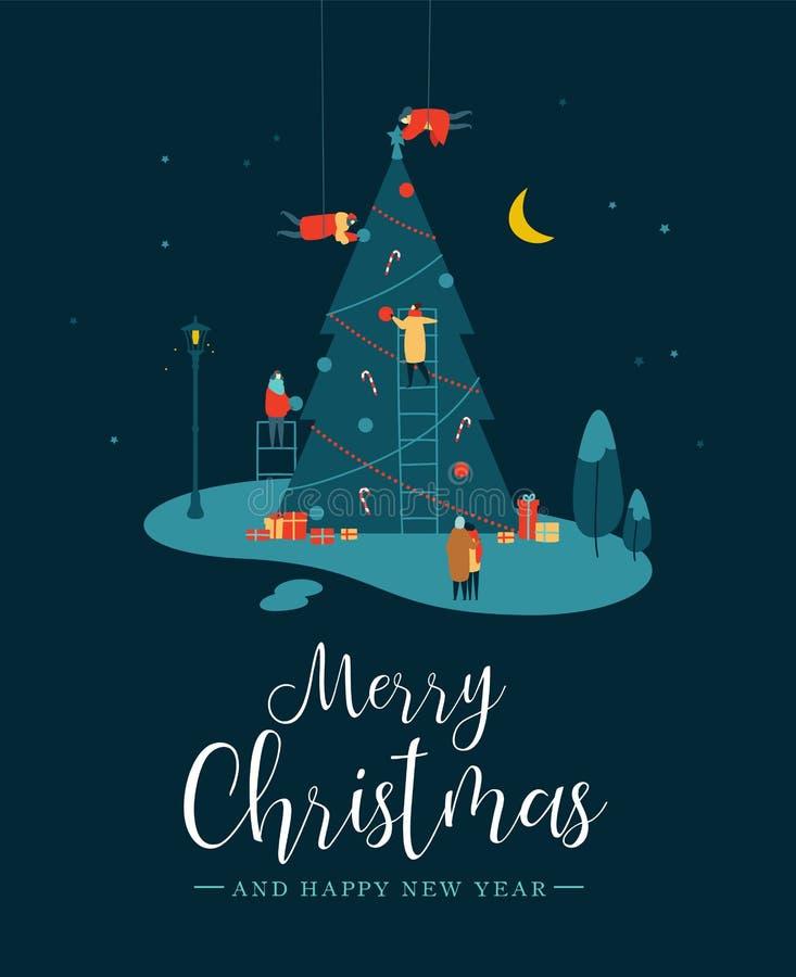 Cartão de Natal dos povos que fazem o pinheiro na noite ilustração royalty free