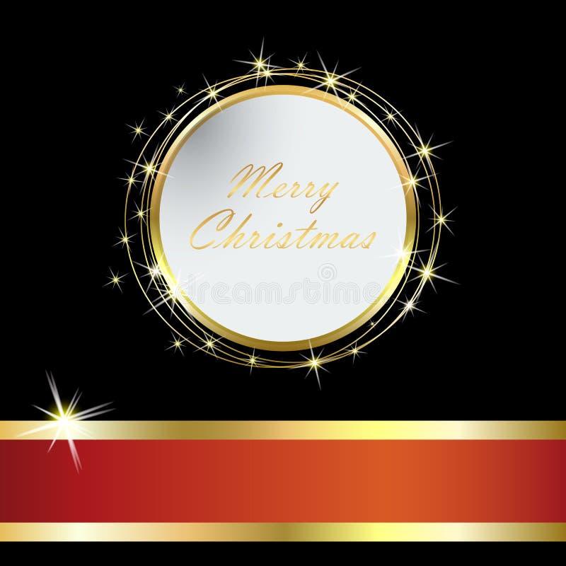 Cartão de Natal elegante com bola e ouropel dourados eps10 ilustração do vetor